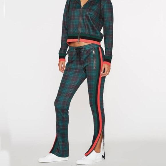 Pam & Gela Pants - Pam & Gela Green Plaid Track Pants